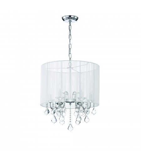 Taylor 5-Light Chrome White Threaded Drum Shade Crystal Chandelier