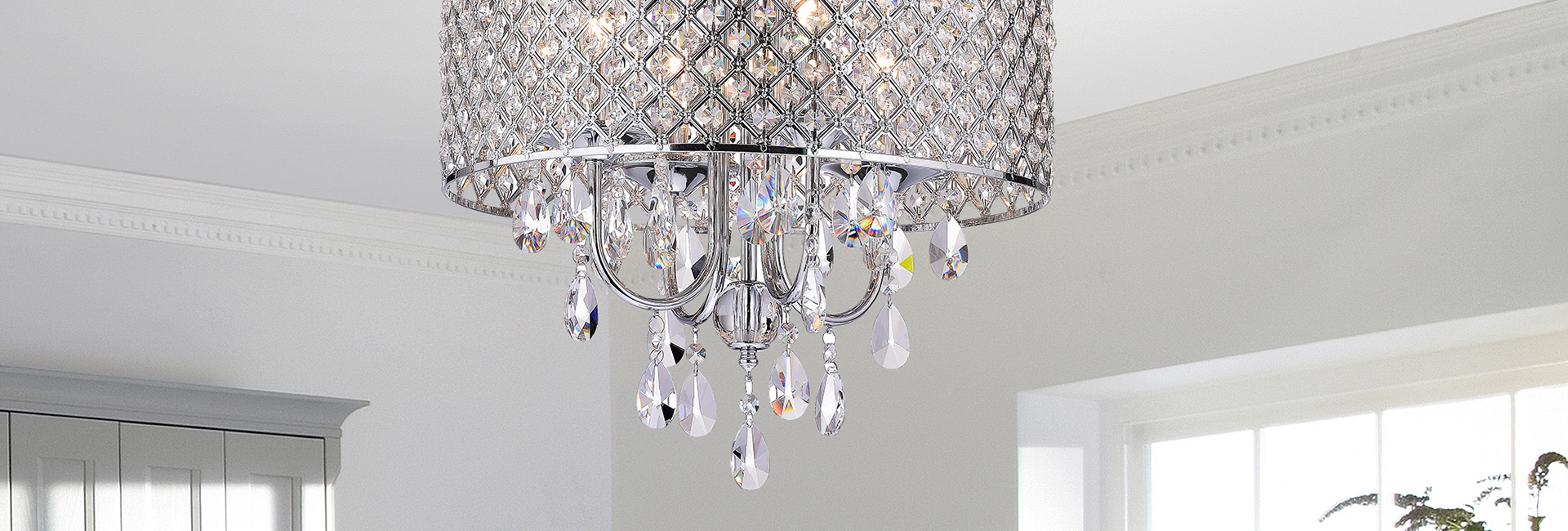 4-Light Chrome Finish Drum Crystal Chandelier