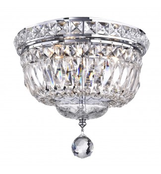3-Light Chrome Finish Crystal Ceiling Flush Mount Chandelier Small