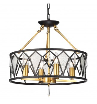 4-Light Black and Antique Gold Flushmount Chandelier with Ice Glass and Crystals