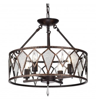 4-Light Antique Copper Flushmount Chandelier with Ice Glass and Crystals