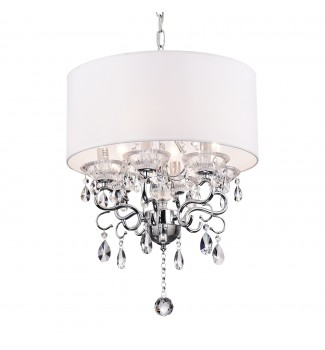 6-Light White Fabric Round Drum Chrome Finish Crystal Chandelier Ceiling Fixture