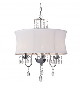 3-Light Chrome Finish White Fabric Drum Crystal Chandelier