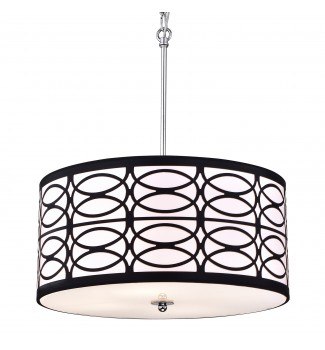 4-Light Chrome Finish with Black and White Round Drum Shade Pendant Chandelier