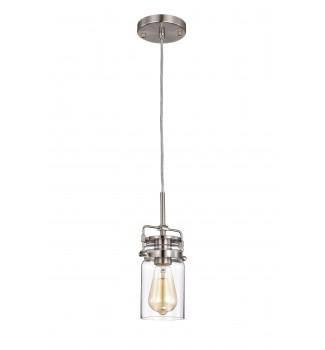 1-Light Brushed Nickel Pendant with Glass Jar Sconces