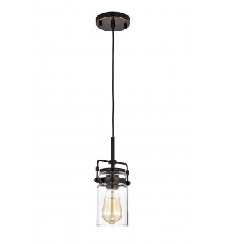 1-Light Oil Rubbed Bronze Pendant with Glass Jar Sconces