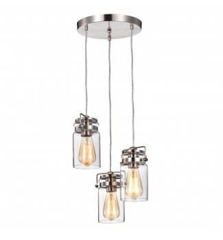 3-Light Brushed Nickel 13 in W Multi Light Adjustable Pendant with Glass Sconce