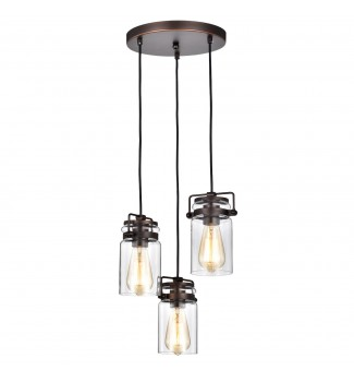 3-Light Oil Rubbed Bronze 13 in W Multi Light Pendant with Glass Sconce