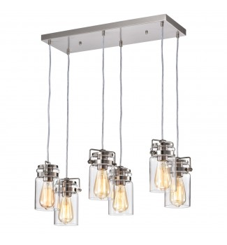 6-Light Brushed Nickel Multi-Light Linear Pendant with Glass Jar Sconces