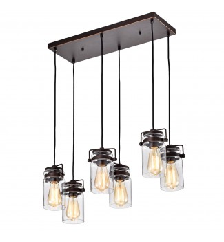 6-Light Oil Rubbed Bronze Multi-Light Linear Pendant with Glass Jar Sconces