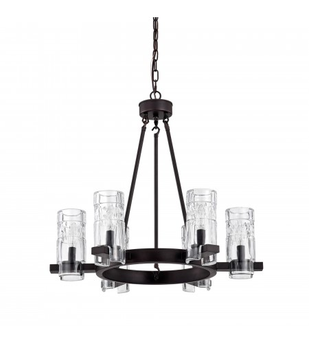 6-Light Oil Rubbed Bronze Wagon Wheel Chandelier With Beer Mug Glass Shades