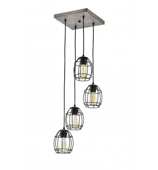 4-Light Black and Wood Cluster Cage Pendant