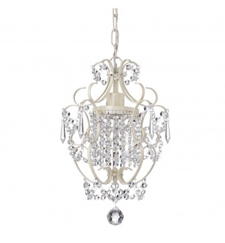 Amorette 1-Light White Finish Mini Chandelier with Crystals