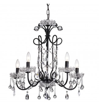 5-Light Black Vintage Crystal Chandelier Ceiling Fixture