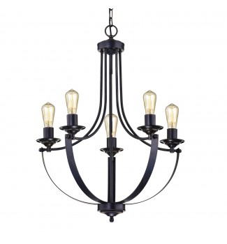 5- Light Antique Black Contemporary Industrial Chandelier Candle Style