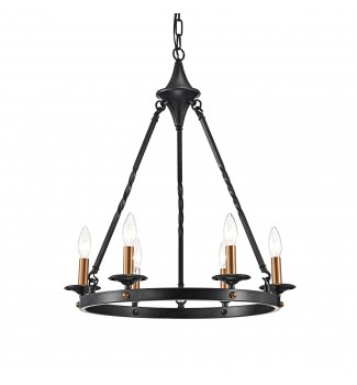 6-Light Antique Black Modern Farmhouse Round Chandelier Ceiling Fixture