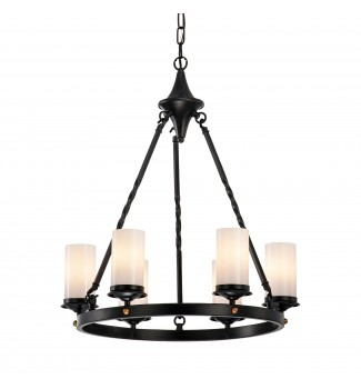 6-Light Antique Black White Glass Shade Chandelier Industrial Ceiling Fixture
