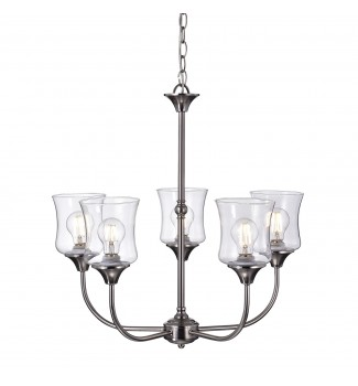 Tulipe 5-Light Brushed Nickel Finish Chandelier