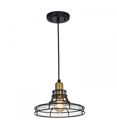 1-Light Black and Antique Gold Pendant with Clear Glass Shade