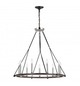9-Light Polished Nickel and Wood Wagon Wheel Chandelier