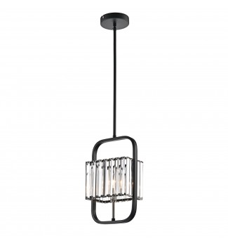 1-Light Matte Black and Brushed Nickel Mini Pendant with Rectangle Crystals