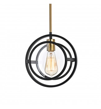 1-Light Black and Antique Gold Round Mini Pendant with Clear Glass