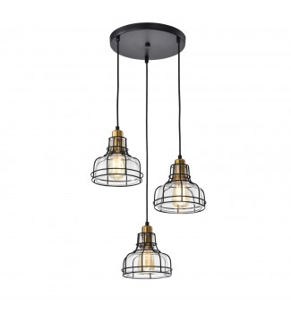 Locke 3-Light Black and Antique Gold Pendant with Clear Glass Shade