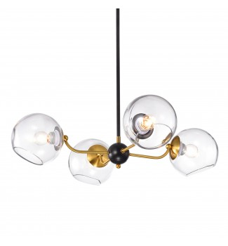 4-Light Gold and Oil Rubbed Bronze Sputnik Chandelier w/ Clear Globe Glass Shade