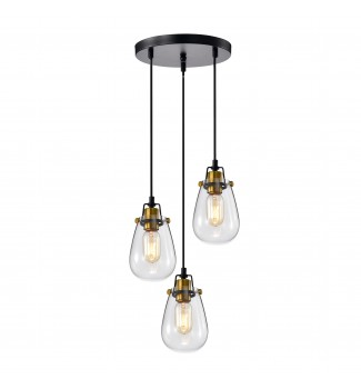 3-Light Black and Antique Gold Pendant with Wire and Glass Shade