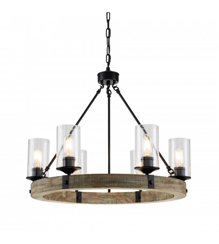 6 Light Matte Black and Vintage Wood Wheel Chandelier