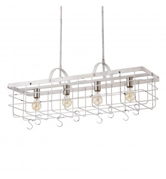 4-light Antique White Lantern Kitchen Island Chandelier