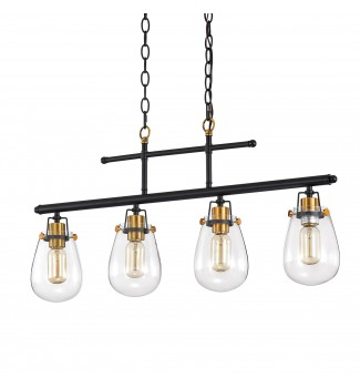 Ontario 4- Light Black and Antique Gold Kitchen Island Chandelier