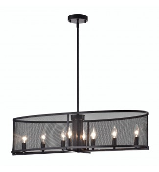 Aludra 8-Light  Oil Rubbed Bronze Oval Metal Mesh Shade Dining Room Chandelier