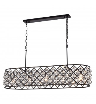 Azha 5-Light Oil Rubbed Bronze Oval Chandelier with Crystal Spheres | ORB