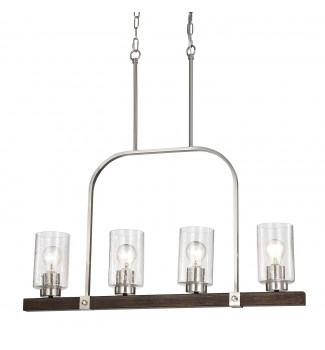 4-Light Brushed Nickel and Wood Linear Chandelier with Seedy Glass