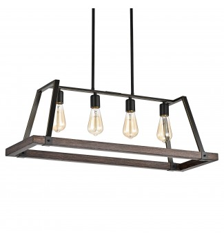 4-Light Wood and Oil Rubbed Bronze Kitchen Island Chandelier