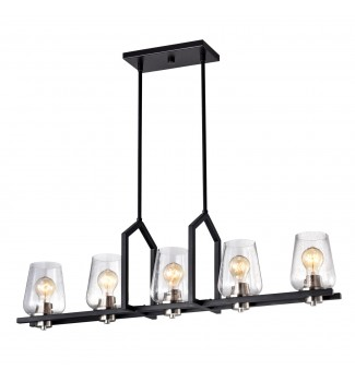 5-Light Black Wrought Iron Linear Kitchen Island Chandelier with Glass Shade