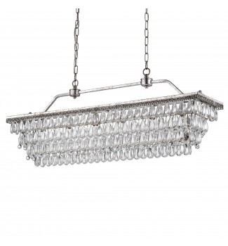 6-Light Antique Silver Rectangular Crystal Chandelier Dining Room Fixture