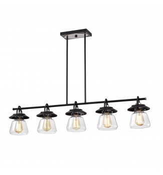 5-Light Black and Brushed Nickel Kitchen Island Pendant