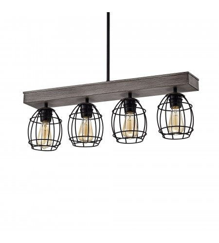 4-Light Wood and Black Cage Linear Pendant