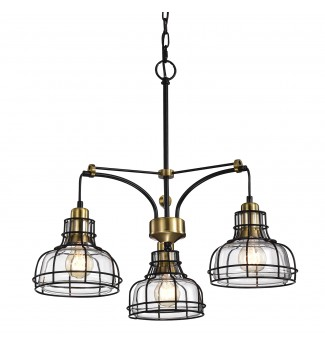 3-Light Black and Antique Gold Chandelier with Clear Glass Shade