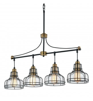4-Light Black and Antique Gold Linear Chandelier with Clear Glass Shades