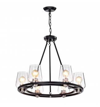 6-Light Black and Brushed Nickel Circular Chandelier with Seeded Glass Shade