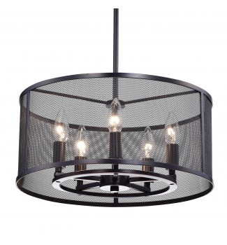 Aludra 5-Light Oil-Rubbed Bronze Round Metal Mesh Shade Pendant Chandelier