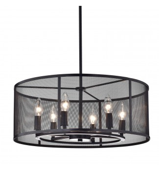 Aludra 6-Light Oil-Rubbed Bronze Round Metal Mesh Shade Pendant Chandelier