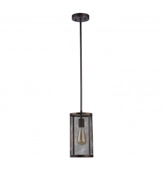 Aludra 1-Light Oil-Rubbed Bronze Round Metal Mesh Shade Mini Pendant Chandelier
