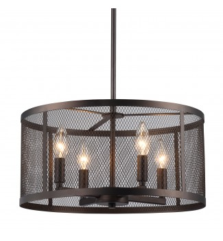 Aludra 4-Light Oil-Rubbed Bronze Round Metal Mesh Shade Pendant Chandelier