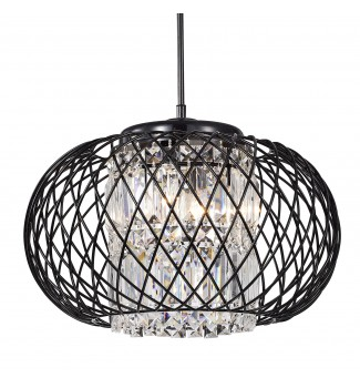 3-Light Antique Black Round Drum Crystal Pendant Chandelier Ceiling Fixture