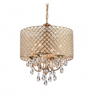 4-Light Gold Round Beaded Drum Chandelier with Hanging Crystals