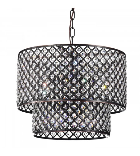 Marya 8-Light Oil Rubbed Bronze Round Double Beaded Drum Shade Crystal Chandeli